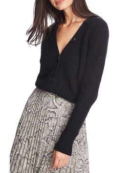 Shaker Stitch Crop Cotton Blend Cardigan by 1.State