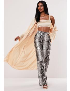 Champagne Satin Square Neck Bralette And Kimono Co Ord Set by Missguided