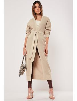 Sand Belted Maxi Knit Cardigan by Missguided