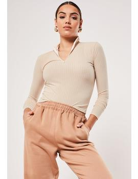 Sand High Neck Rib Zip Up Top by Missguided