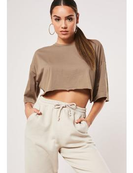 Taupe Drop Shoulder Oversized Crop Top by Missguided