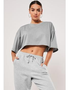 Gray Drop Shoulder Oversized Crop Top by Missguided