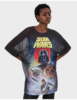 Τούλινη μπλούζα Star Wars με γυαλιστερό σχέδιο by Bershka