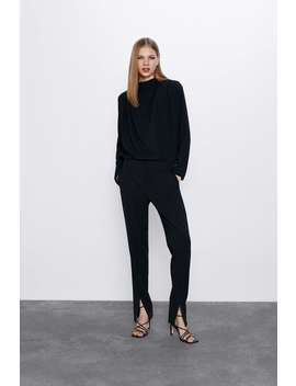 Pants With Front Vents by Zara