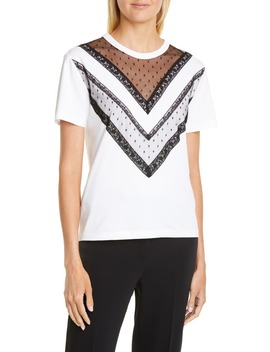 Point D'esprit & Lace Trim Tee by Red Valentino