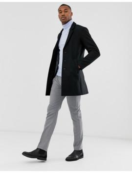Jack &Amp; Jones Premium Wool Overcoat In Black by Jack & Jones