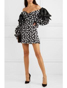 Off The Shoulder Bow Embellished Polka Dot Duchesse Silk Satin Mini Dress by Carolina Herrera