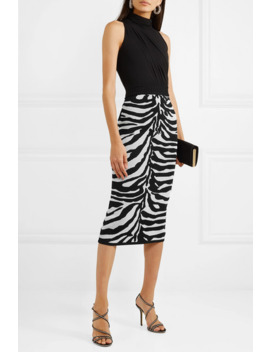 Zebra Intarsia Knitted Midi Skirt by Hervé Léger