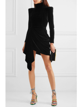 Parker Draped Velvet Mini Dress by Alex Perry