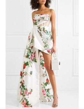 Reid Draped Tulle Trimmed Floral Print Satin Crepe Gown by Alex Perry