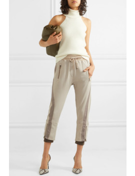 Cropped Paneled Cotton Jersey Tapered Track Pants by Haider Ackermann