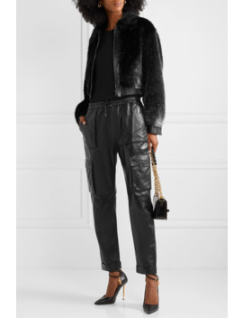 Cropped Leather Trimmed Metallic Faux Fur Bomber Jacket by Tom Ford