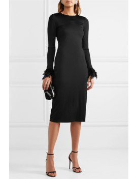 Debora Feather Trimmed Stretch Crepe Dress by Alice + Olivia