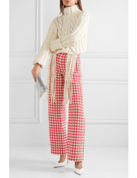 Crystal Embellished Houndstooth Wool Blend Wide Leg Pants by Area