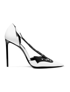 Zoe Cutout Two Tone Leather Pumps by Saint Laurent