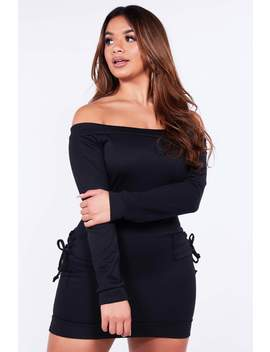 Black Bardot Dress With Lace Up Detail by Hidden Fashion
