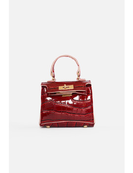 Deep Red Vegan Croc Leather Mini Bag by Luxe To Kill