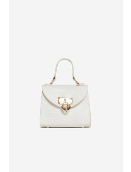 White Vegan Croc Leather Heart Padlock Mini Bag by Luxe To Kill