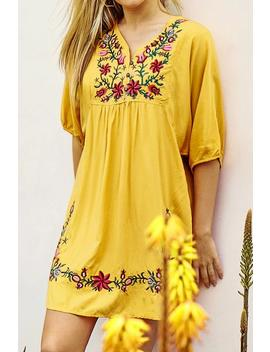 Yellow Floral Embroidered Dress by Cupshe