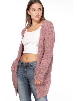 Fuzzy Chenille Open Front Cardigan by Papaya