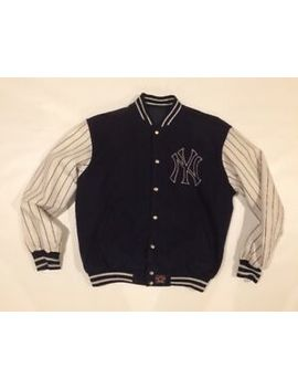New York Yankees Jh Design Reversible Jacket Leather Sleeves &Amp; Wool Size Med by New York Yankees