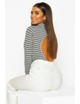 Stripe High Neck Open Back Top Stripe High Neck Open Back Top by Boohoo