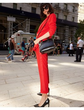 Pantalon De Costume Rouge Fluide En Crêpe by The Kooples