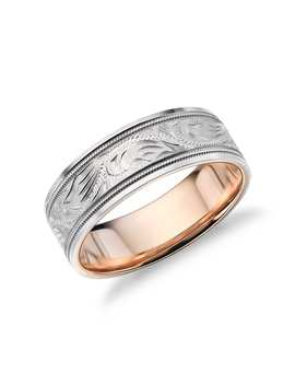Two Tone Paisley Wedding Ring In Platinum And 18k Rose Gold (7mm) by Blue Nile