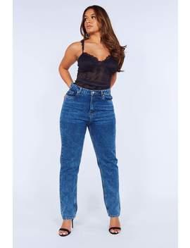 Mid Wash Casual Denim Mom Jeans by Hidden Fashion