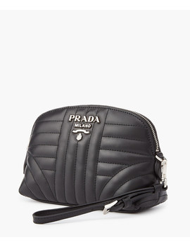 Black Quilted Leather Pouch Bag by Prada