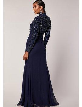 Naya Maxi Dress Navy by Virgos Lounge