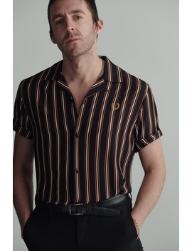 Miles Kane Striped Bowling Shirt  by Fred Perry