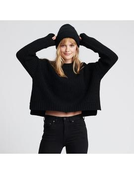 Ribbed Wool Cashmere Crewneck Black by Naadam