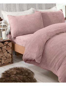 Blush Teddy Fleece King Duvet Set by Brentfords