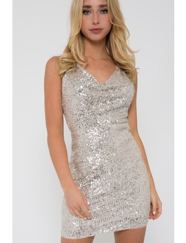 Tfnc Vue Silver Sequin Mini Dress by Tfnc London