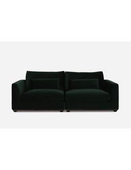 Alfie 2 Seater Sofa, Walnut, Fern Green Velvet | Castlery by Castlery