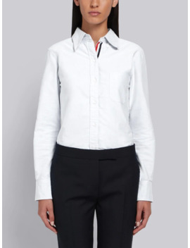 Classic Long Sleeve Button Down Shirt In White Oxford by Thom Browne