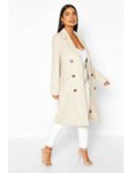 Petite Soft Herringbone Wool Look Coat Petite Soft Herringbone Wool Look Coat by Boohoo