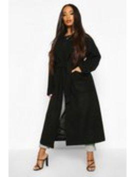Petite Belted Patch Pocket Longline Wool Look Coat Petite Belted Patch Pocket Longline Wool Look Coat by Boohoo