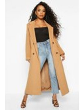 Petite Belted Double Breasted Wool Look Coat Petite Belted Double Breasted Wool Look Coat by Boohoo