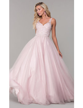 Long Dusty Pink Tulle V Neck Prom Dress by Promgirl