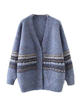 'kiersten' Mixed Knit Middle Pattern Cardigan by Goodnight Macaroon
