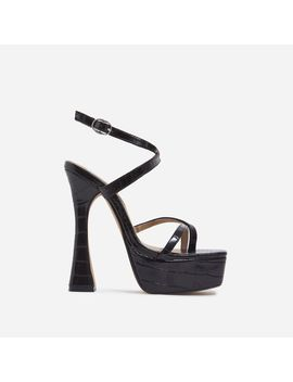 Vox Square Toe Platform Flared Heel In Black Croc Print Faux Leather by Ego