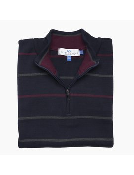 Cotton Quarter Zip Sweaters   Navy Stripe by Peter Manning