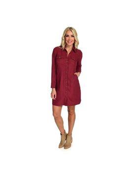 Indigo Thread Co.™ Faux Suede Long Sleeve 4 Pocket Shirt Dress by Shop Hq