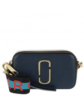 Logo Strap Snapshot Small Camera Bag Leather Navy by Marc Jacobs