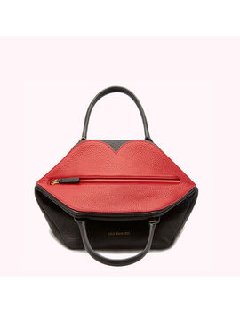 Black & Red Peekaboo Lip Grainy Leather Small Valentina by Lulu Guinness