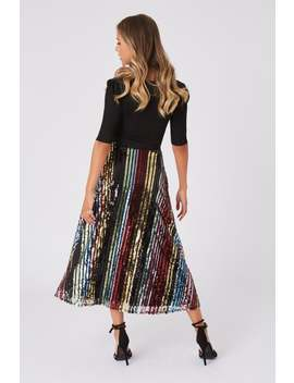 Little Mistress Trixie Rainbow Sequin Midi Skirt by Little Mistress