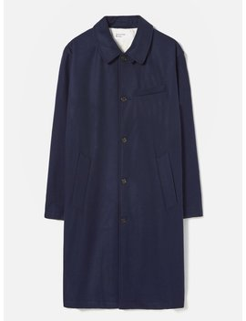 Universal Works Overcoat In Navy Melton by Universal Works