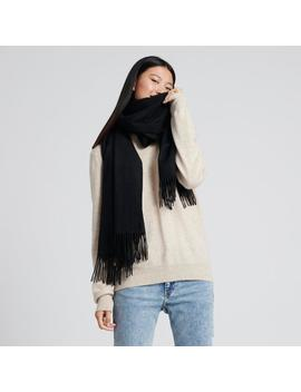 Cashmere Solid Scarf Black by Naadam